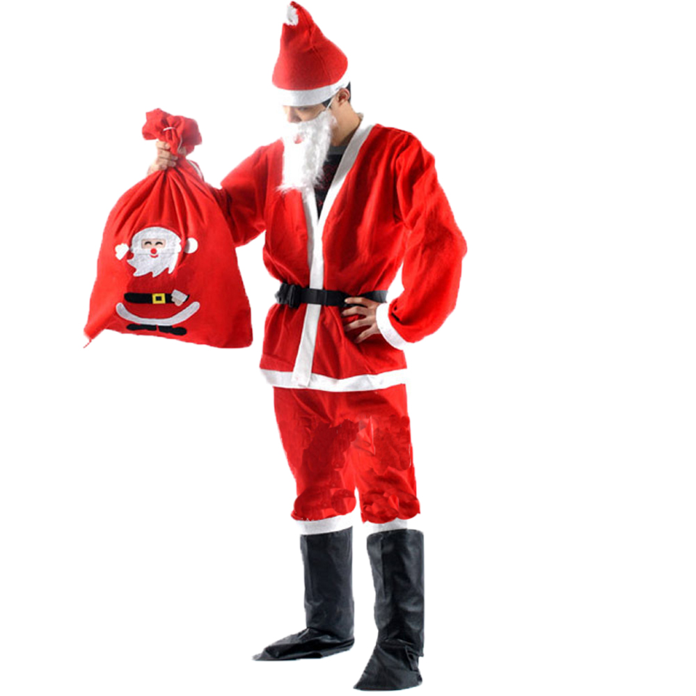 2019 New 7 in 1 Red Mens Christmas Santa Claus Costumes for Women Adult Santa Claus Cosplay Costume Suit Shipped within 24 hours