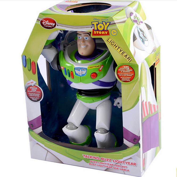 12 30CM Disney Pixar Toy Story 3 Buzz Lightyear Ultimate Talking Action Figure Toys PVC Action Figure Collectable Toy Kids Gift original toy story 3 buzz lightyear robot light voice elastic wings 30cm action music anime figure kids toys for children p2