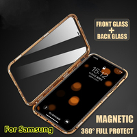 Luxury Double Sided Glass Metal Magnetic Case For Samsung S10 S10 Plus Magnet Tempered Glass Cover 360 Protection Capinhas