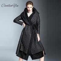 2018 New Ceciliayu Fashion Light Down Jacket Women's Long Section Over The Knee Waist Hooded 90 White Duck Down Women Coats