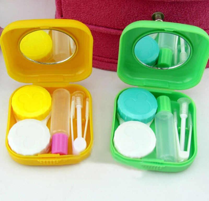 1 Pza Popular Kit de viaje fácil de llevar Mini cuadrado caja de lentes de contacto
