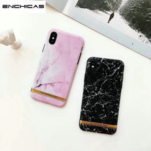 ENCHICAS Shiny Rose Gold Marble Crack Design Black For Apple IPhone 7 8 Plus 6 6S X