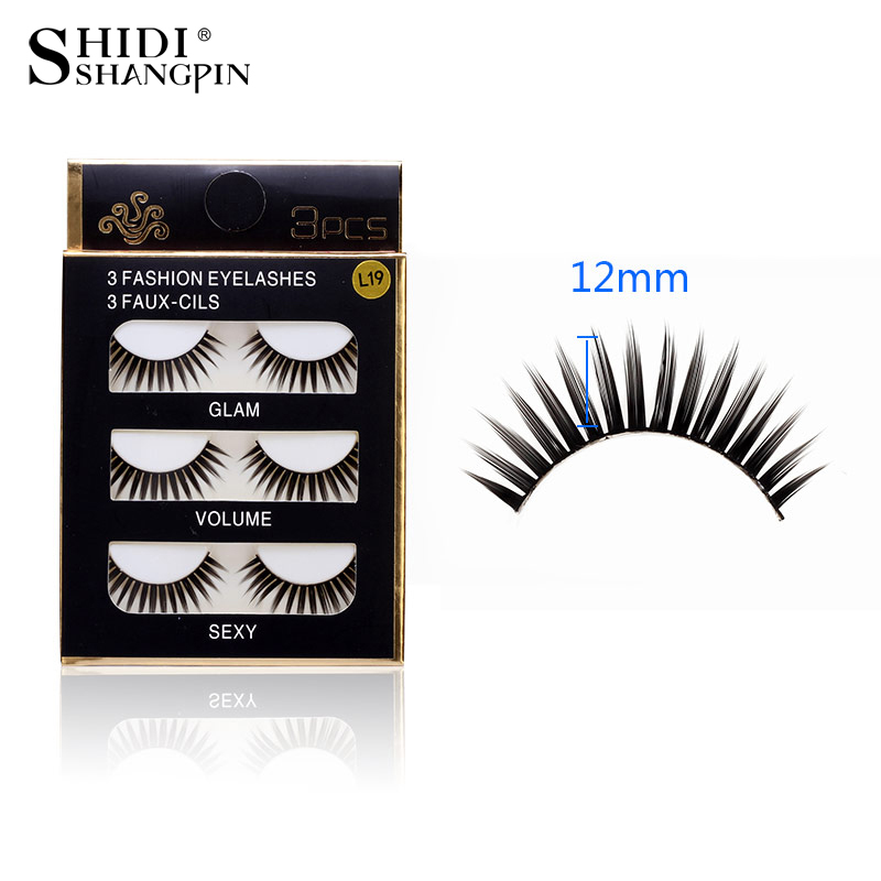 SHIDISHANGPIN 3 pairs Lashes Natural Long Makeup False Eyelashes 1 Box Eyelashes Synthetic Hair Extension Lashes BL19