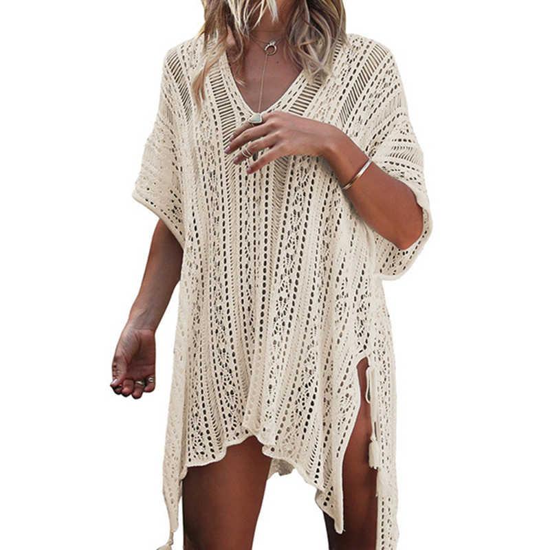 بلوزة صيفية للنساء 2018 بلوزة واقية من الشمس على شاطئ البحر بفتحة رقبة على شكل V قميص علوي مثير 13 لون Camisa Feminina