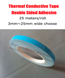 25 Meters/roll, 3mm~25mm Wide Choose, Double Adhesive Thermally Conductive Tape for Aluminum Frame LED Lighting, Heat Sink, PCB
