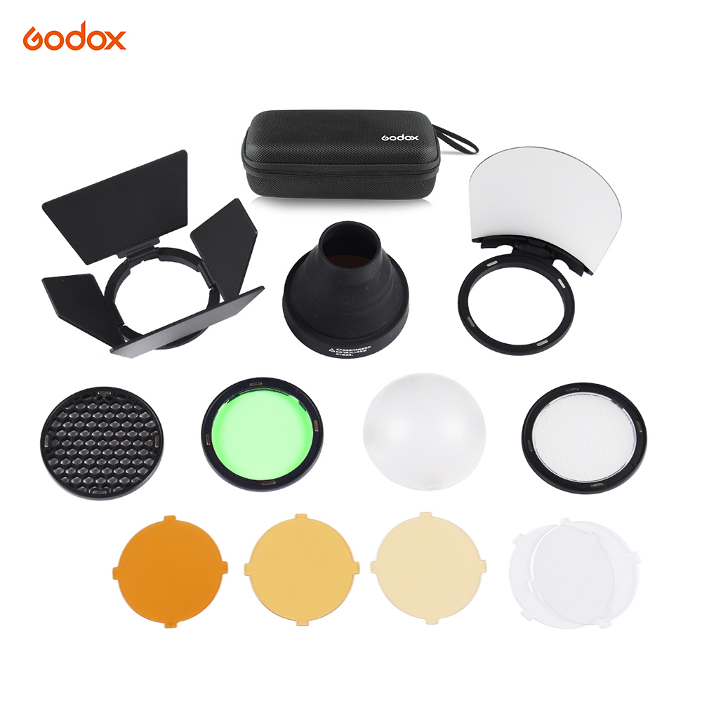 Godox AK-R1 for AD200 and H200R Round Flash Head Barn Door, Snoot, Color Filter, Reflector, Honeycomb, Diffuser Ball KitsGodox AK-R1 for AD200 and H200R Round Flash Head Barn Door, Snoot, Color Filter, Reflector, Honeycomb, Diffuser Ball Kits
