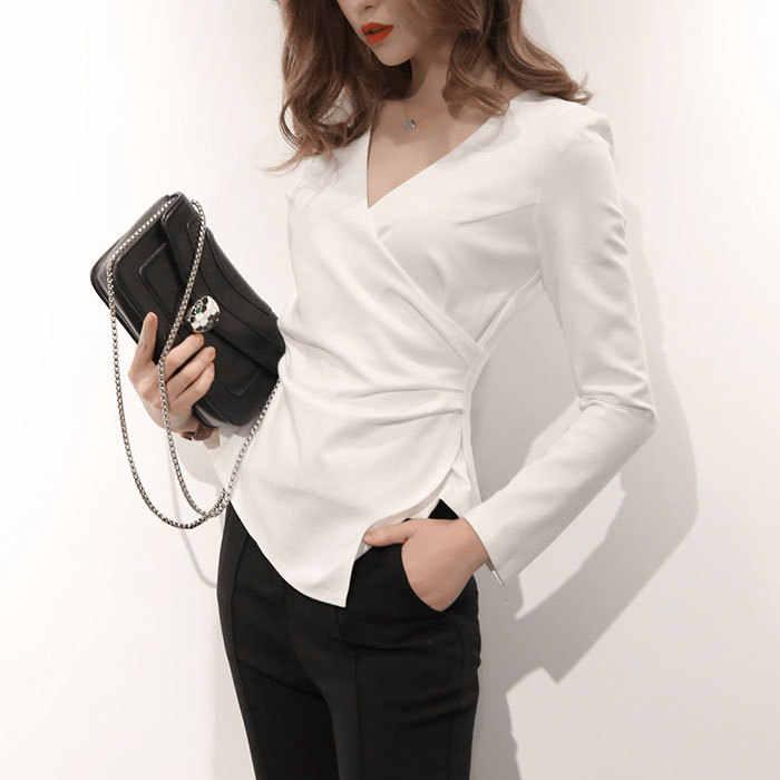 8574fb549fc Сексуальная V шеи Для женщин блузка тонкая талия Асимметричная Белый  Женская рубашка Верхняя Нижняя рубашка 2019