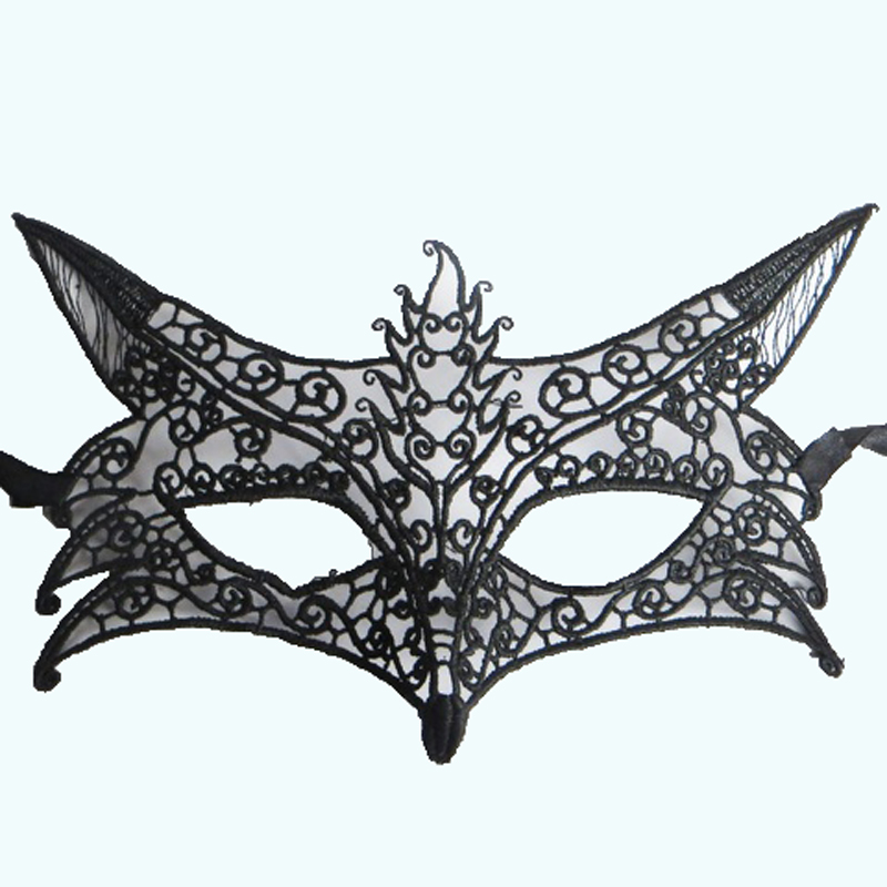 1PC Sexy Black Mask Saw izgriezt mežģīnes maska ​​Halovīni maskēties Ball Sexy Lady Hollow Out Elegants dzīvnieku lapsu maska ​​puse masku