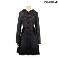 Gothci Лолита бабочка стекаются Роза кнопку длинное пальто с модным принтом кружева стороны качели с шляпа черное пальто в стиле Панк RAVE LY 046