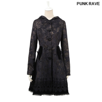 Gothci lolita butterfly flocking rose button long coat fashion printing Lace side swing with hat black coat PUNK RAVE LY 046