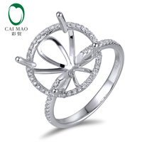 Caimao 10K White gold 0.32ct Natural Diamond 14mm Round Cut Semi Mount Setting Ring Engagement Jewelry
