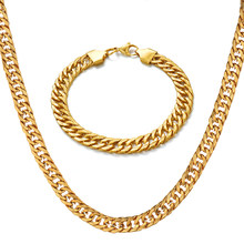 Men Women's Jewelry Set Stainless Steel Gold Bracelet Necklace Set Curb Cuban Link Chain 2019 Wholesale Jewelry N1398(China)