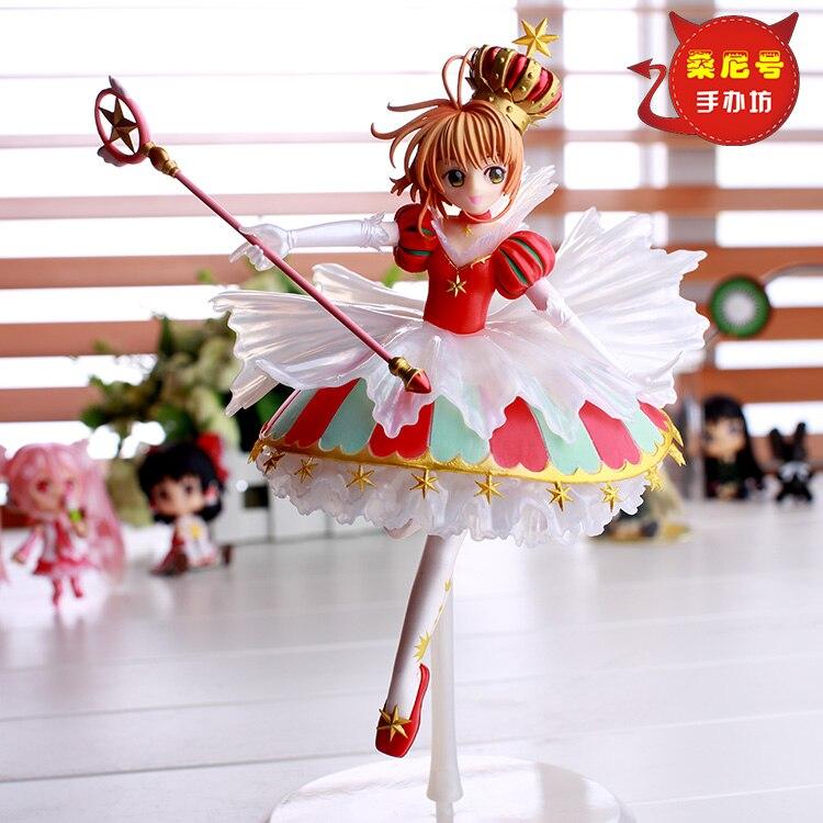 цены на NEW 27cm No base Anime Card Captor Sakura Mini Figures Kinomoto Sakura Daidouji Tomoyo PVC Action Figures Toys Cardcaptor в интернет-магазинах