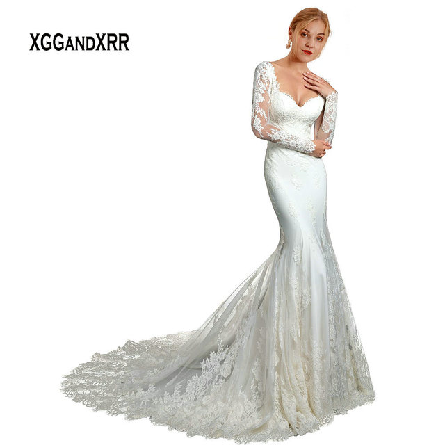 ef308cf631abe Elegant Long Sleeves Lace Mermaid Wedding Dress 2019 Bridal Gown Sweetheart  Applique Chapel Train Long Bride Dress White Formal