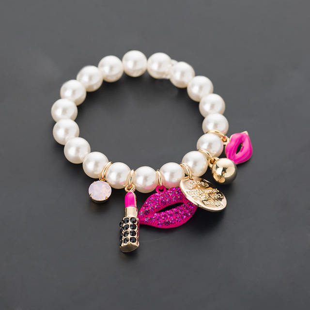 d5648a310717 MEIDIJINGBEIFashion cadena joyería pulseras y pulseras labios lápiz labial  imitación perla joyería Pulseiras pulsera damas joyas
