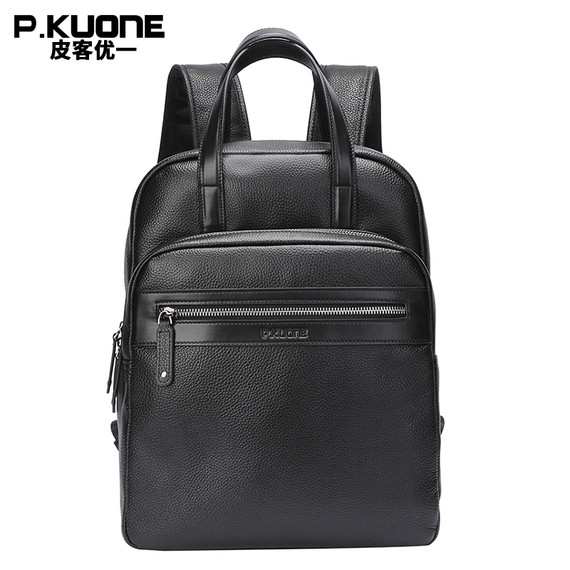 P.KUONE Brand Men Genuine Cow Leather Backpack Large bagpack Male Business Back Pack Travel Rucksack School Backpack Bag Black multifunction genuine leather backpack men backpack fashion male school backpack travel bag large leather rucksack big black