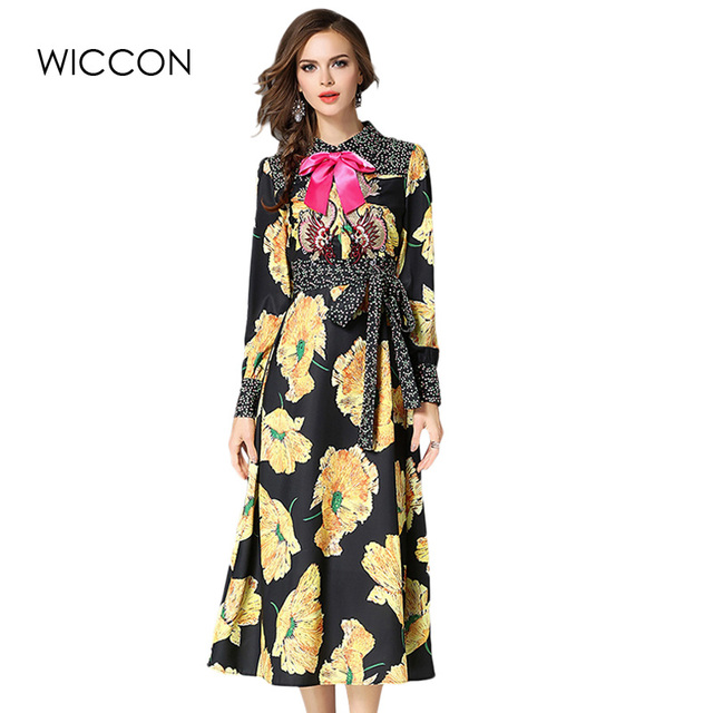 Elegant Print Vintage Dress Women Long Sleeve Autumn Flower Dresses High Quality Turn Down Collar Mid