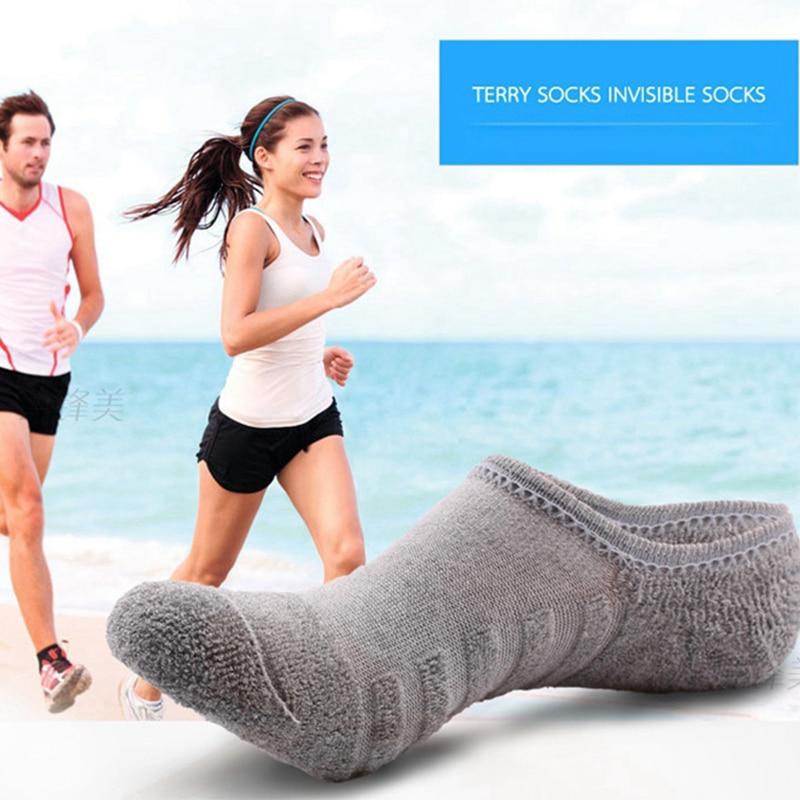 5 Pairs/lot Men's Fashion Towel Bottom Boat Socks Cotton Sport Sweat Breathes Silicone Anti-Slip Invisible Socks Plus Size 41-45
