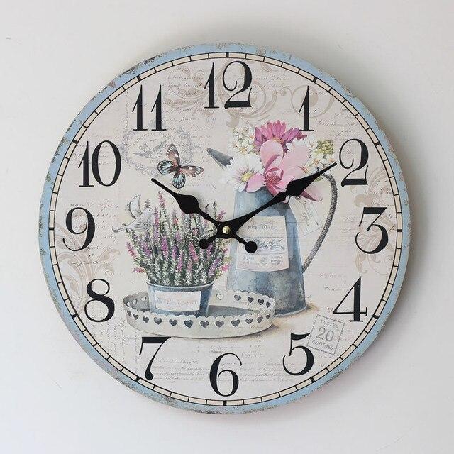 2015 Hot Sale Rushed Clocks Zakka Style Home Fashion Plants Pattern Round Electronic Wood Wall Clock Quartz Watch For Decoration