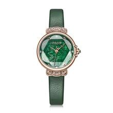 Montre pour femme nacre japon Quartz élégant mode cristal heure Bracelet en cuir horloge fille cadeau danniversaire boîte Julius