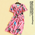 The new animal cartoon 100% mulberry silk dress 2016 female silk long short-sleeved dress lace-up waist in the summer