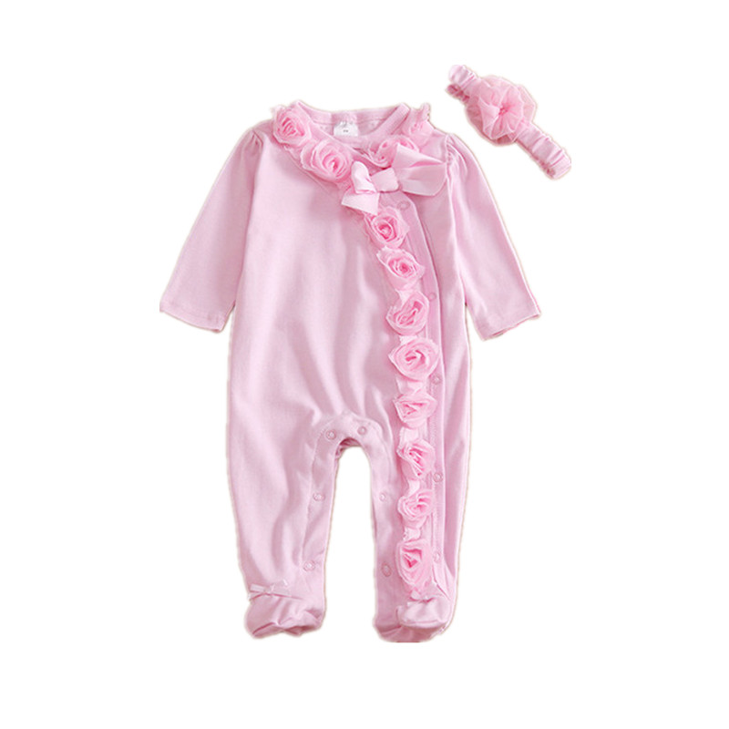 Prinsessan Nyfödd Baby Girl Kläder Bow / Blommor Klädsel Set Jumpsuit & Headband Vår Gullig Infant Girls Rompers Body Suit