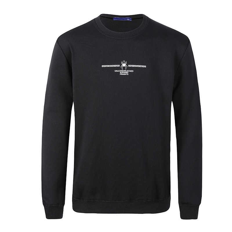 2019 Высокое качество Мужские толстовки повседневное хлопковый пуловер Уличная спортивный костюм Толстовка с круглым вырезом Кофты черный для мужчин Мода