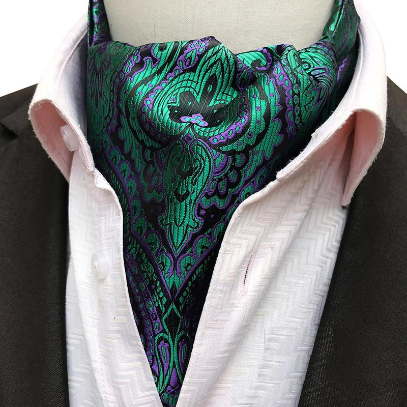YISHLINE Men's Silk Cravat Tie Paisley Floral Formal Cravat Ascot Ties Scrunch Self British Gentleman Necktie Wedding Party