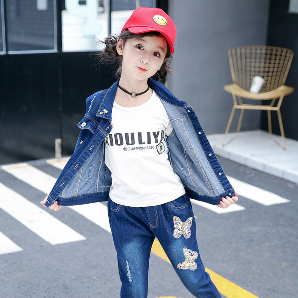New Spring School Girls Blue Denim Clothing Set Jean Jacket+Denim Pants Jeans 2pcs Children Girls Denim Suit Kids Clothes Sets 2017 new fashion kids clothes off shoulder camo crop tops hole jean denim pant 2pcs outfit summer suit children clothing set