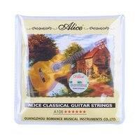 10 סטים אליס גיטרה קלאסית מיתרי ניילון ברור כסף בציפוי סגסוגת נחושת פצע A106H