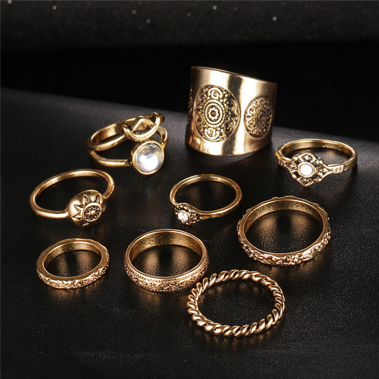 HTB1RONuQVXXXXXlaXXXq6xXFXXXM 9-Pieces Antique Style Turkish Knuckle Ring Set For Women - 2 Colors