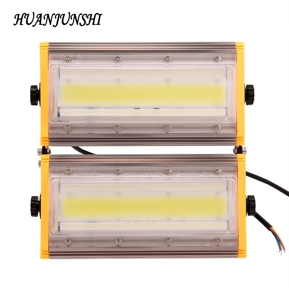 HUAN JUN SHI 4PCS 100W LED Flood Lights 220V COB Chip LED Flood Light IP65 Waterproof Flood Lamp Yard Garden Lighting Wall Light