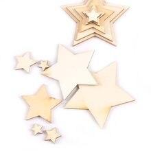 Mix estrela forma de madeira natural fatias diy artesanato casamento acessórios para casa enfeite decoração de madeira artesanato 10-80mm m1982