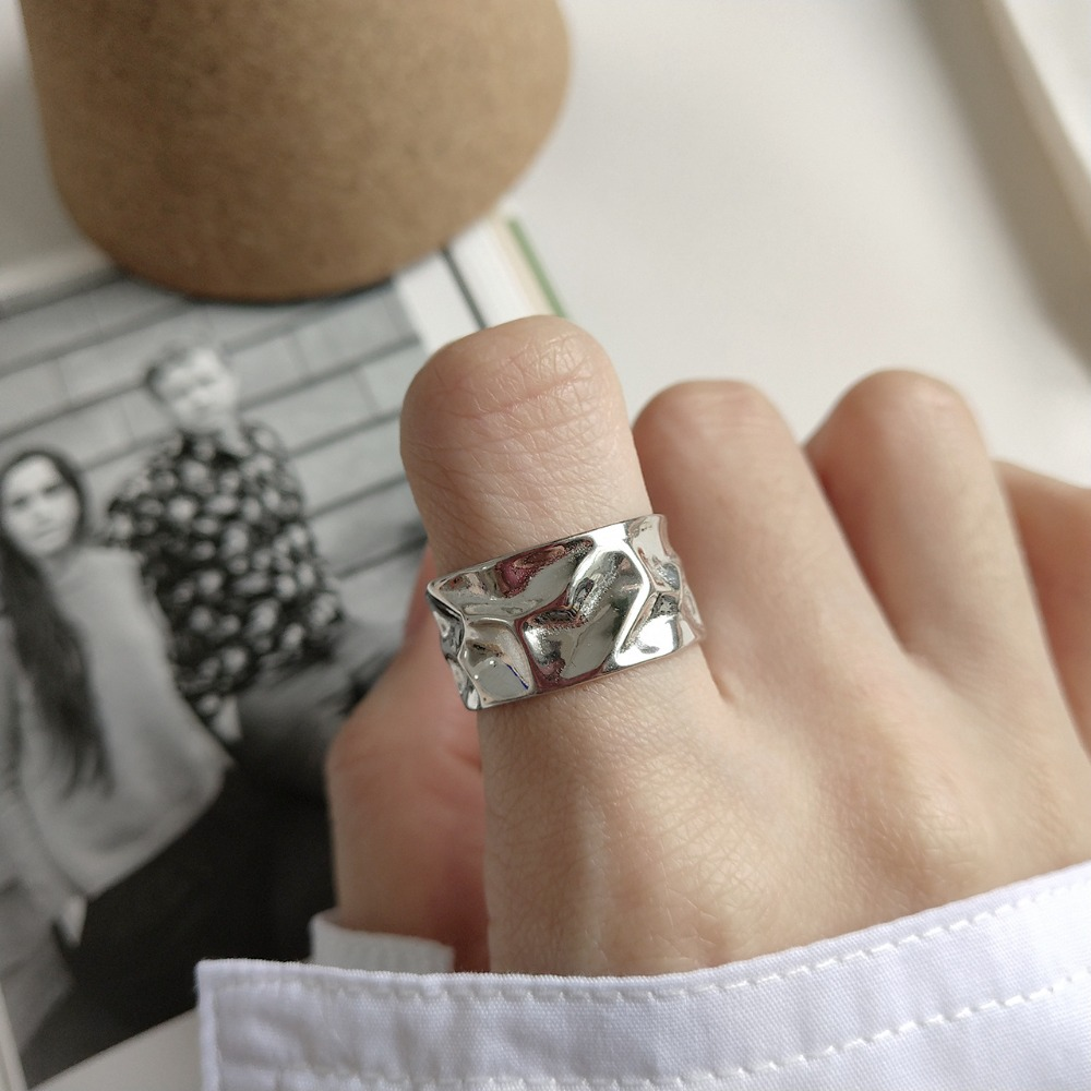 Punk Wild Authentic S925 Sterling Silver FINE Jewelry Personality Irregular Geometric Band Wide Face Rings Adjust Women's J464