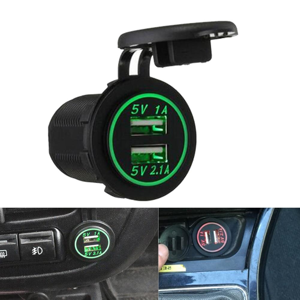 USB Car Charger Cigarette Lighter Adapter 12V-24V Waterproof 2 Port 2.1A/1A Dual USB Car Charger Power Adapter Socket Splitter