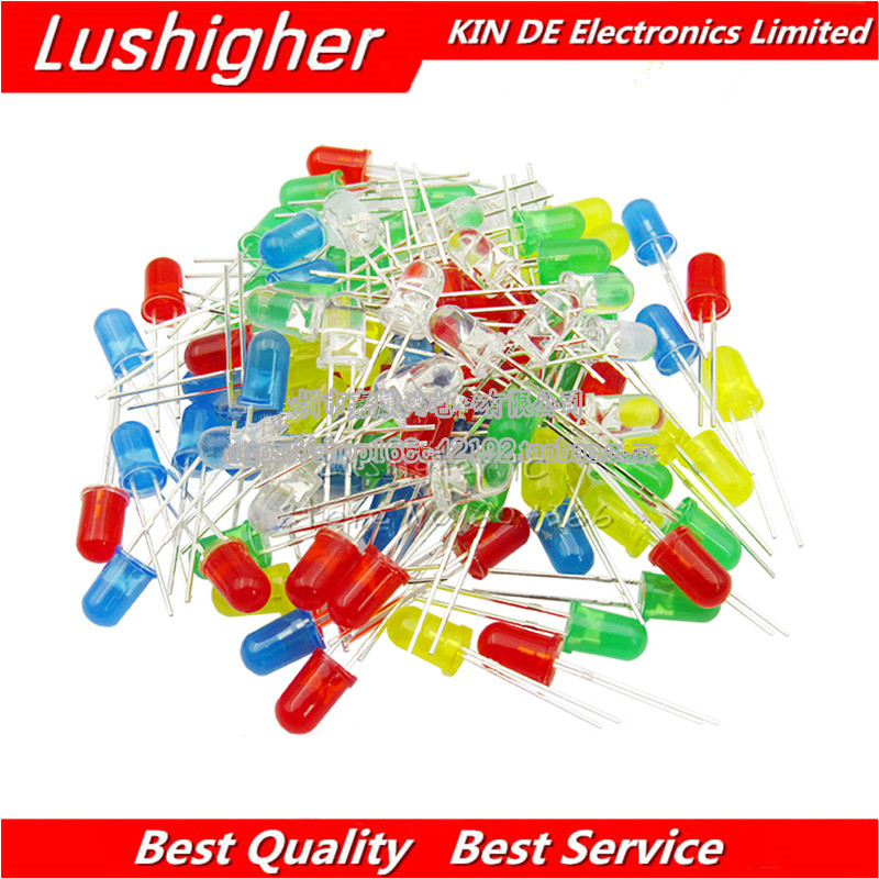 100PCS 5mm <font><b>LED</b></font> Diode Licht Assorted <font><b>Kit</b></font> Grün Blau Weiß Gelb Rot KOMPONENTE DIY <font><b>kit</b></font> 5Colors * 20PCS image