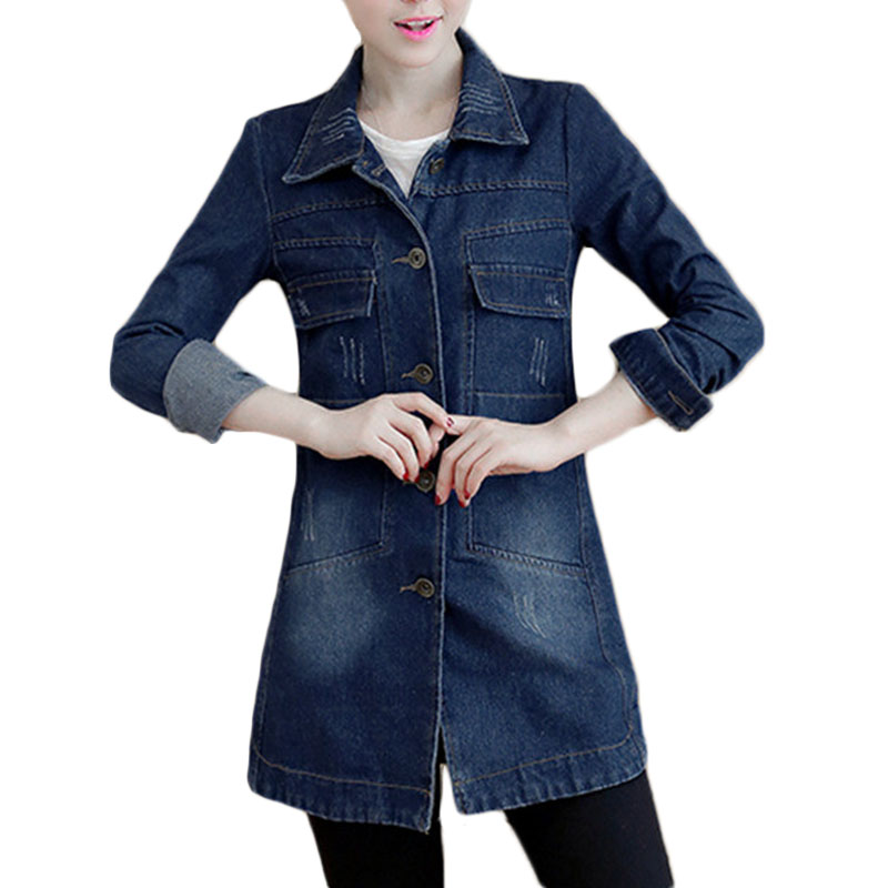 Осенне-зимняя Корейская джинсовая куртка, женское тонкое длинное базовое пальто, женские потертые темно-синие джинсовые куртки больших раз...