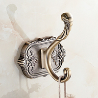 Robe Hooks Wall Hook Single Coat Hook Towel Wall Hanger Antique Carved Luxurious Gold Hook For hanging Bathroom Accessories 3301