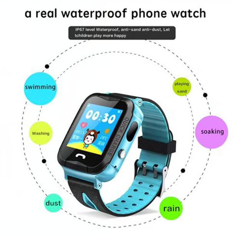 Fuy Bill Waterproof V6G SmartWatch GPS Tracker Monitor SOS Call with Camera Lighting Baby Smartwatch for Kids Child PK Q750 Q90