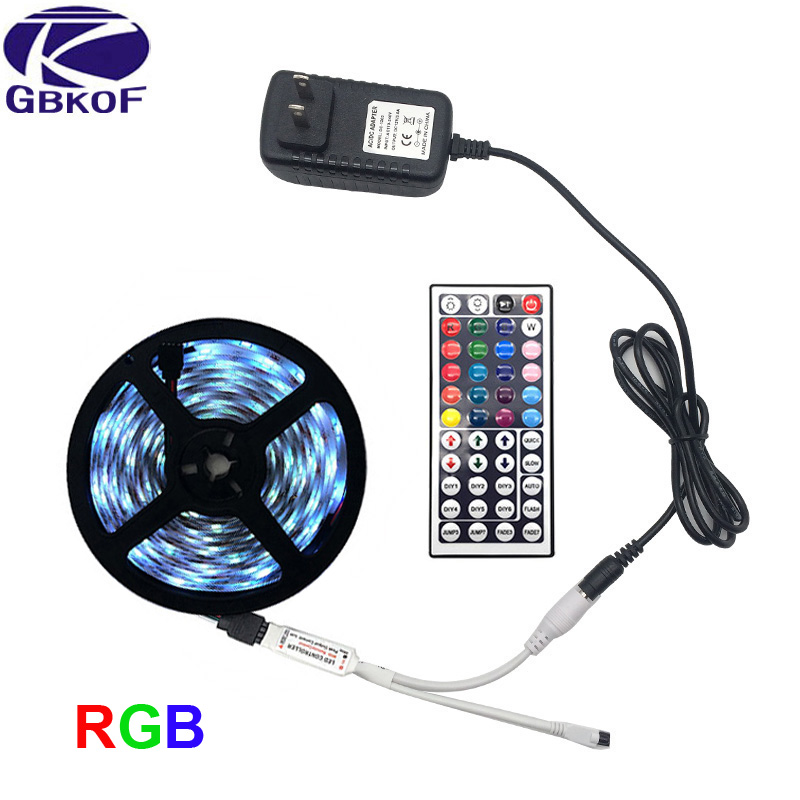 SMD5050 RGB LED Strip Light 5M 10M 30Leds/m DC 12V Tape Ribbon Diode Flexible Waterproof 44keys Controller Adapter Set