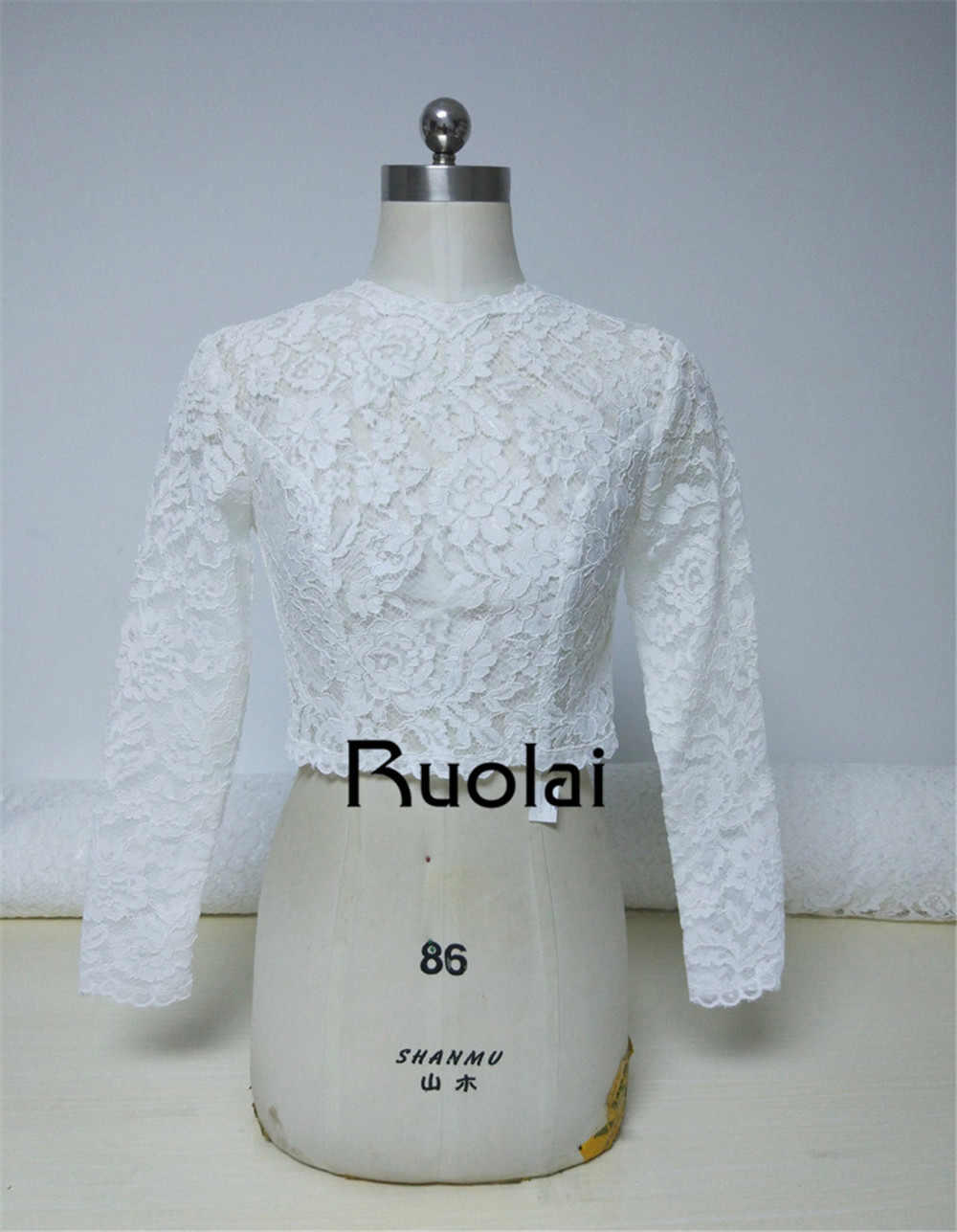 2018 High Neck Ivory Long Sleeves Wedding Jacket Lace Bolero Jacket ...
