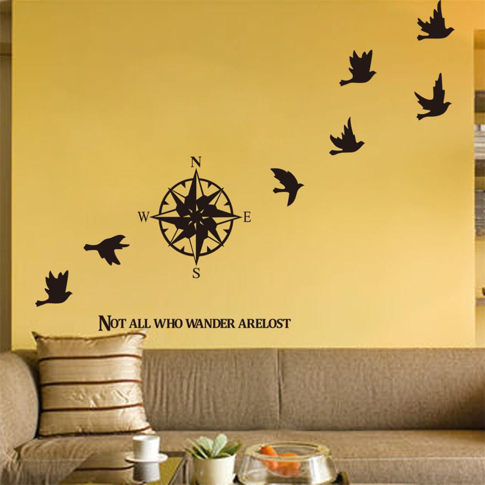 Removable Compass Bird Wall Decor Art Vinyl Living Room Bedroom ...