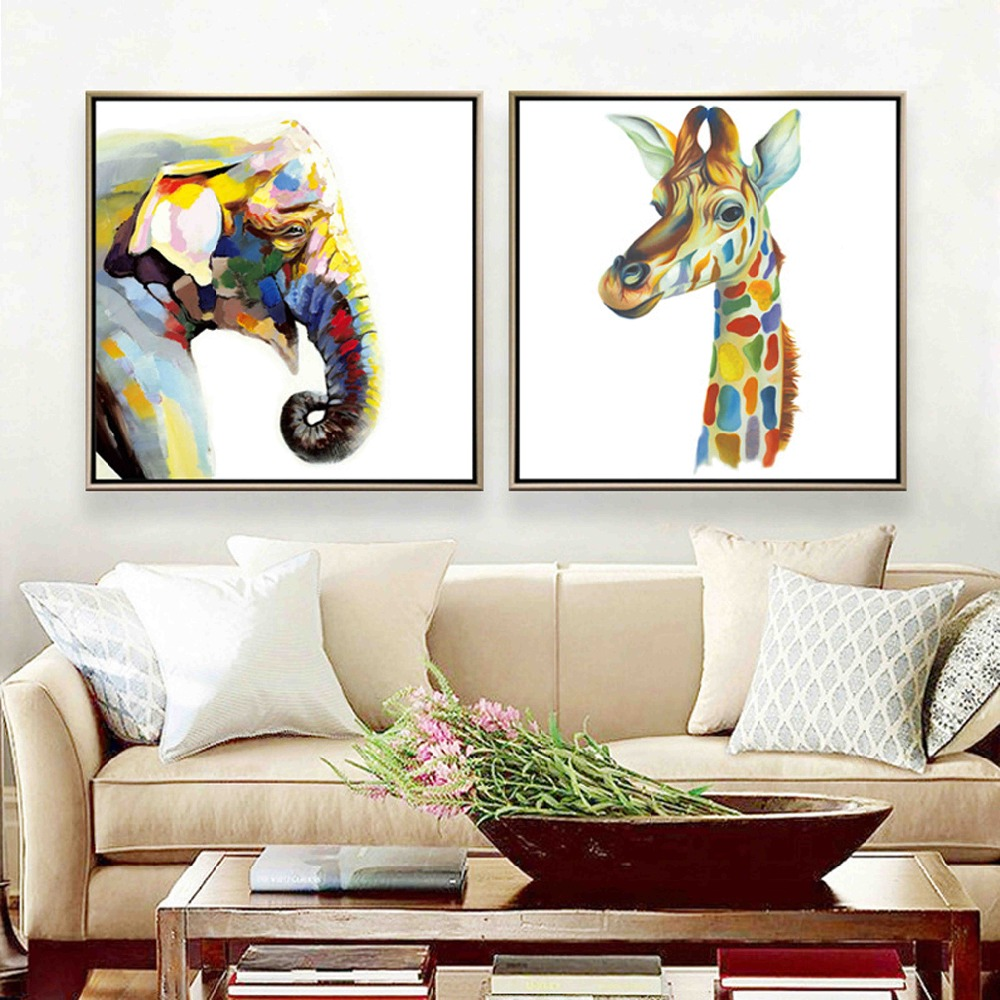 Nordic Decoration Colorful Rainbow Zoo Animals Giraffe Cow Elephant Deer Canvas Painting Wall Pictures Poster Home Decor