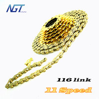 Very Good Bike Chain Golden Color 11 Speeds 116 Knots Mountain Road Bicycle mtb chain 116 links 33 Speed Chains Fast Shipping