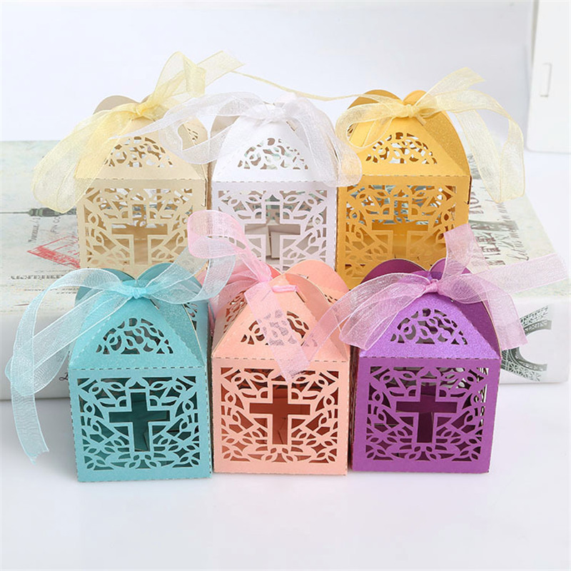 10pcs Laser Cut Candy Box Cross Shaped Wedding Favor Box With Ribbon Baby Shower Favors And Gifts Wedding Party Favor Decoration