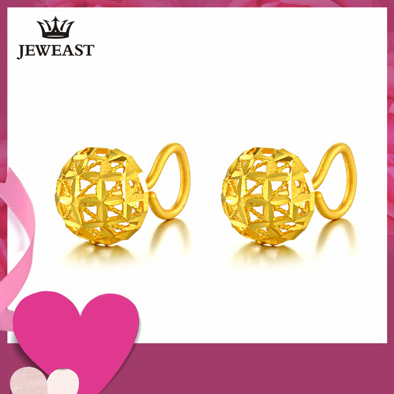 24K Pure Gold Earring Real AU 999 Solid Gold Earrings Exquisite Hollow Ball Upscale Trendy Party Fine Jewelry Hot Sell New 2018 ve b62 cv