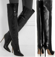 2015 Hot Selling Black Leather Pointed Toe Knee High Winter Boots Stiletto Heel High Quality Motorcycle Boots