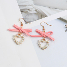 SUKI Korean Woman Popular Cloth Pink Bowknot Earrings Pearl Heart For Women Statement Dangle Drop Earings Jewelry