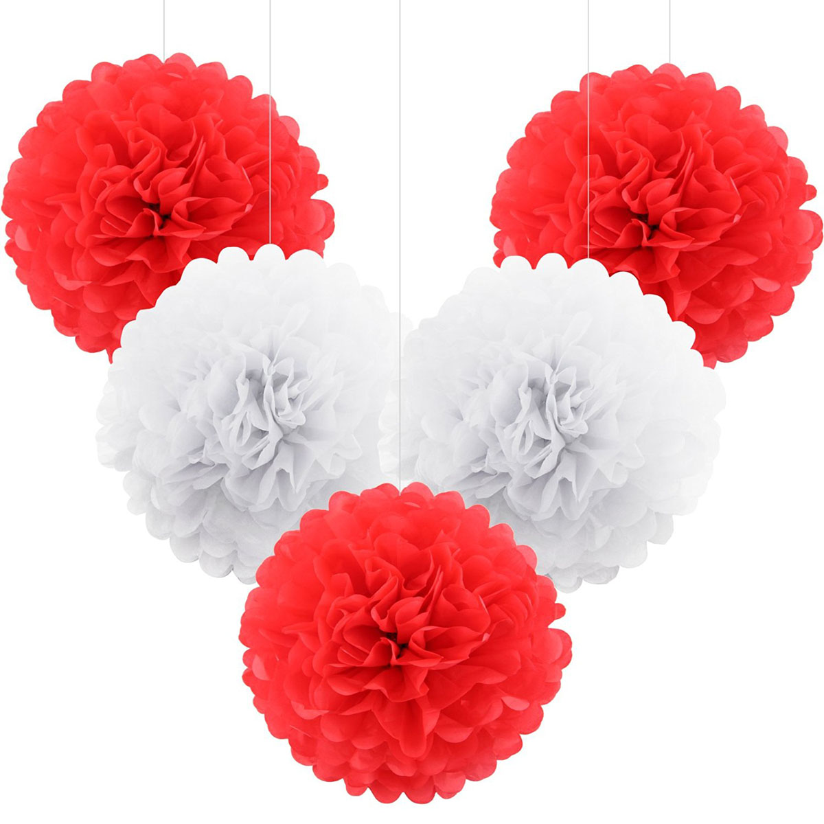 5pcs Tissue Paper Pom Poms Wedding Party Paper Pompom Flower For