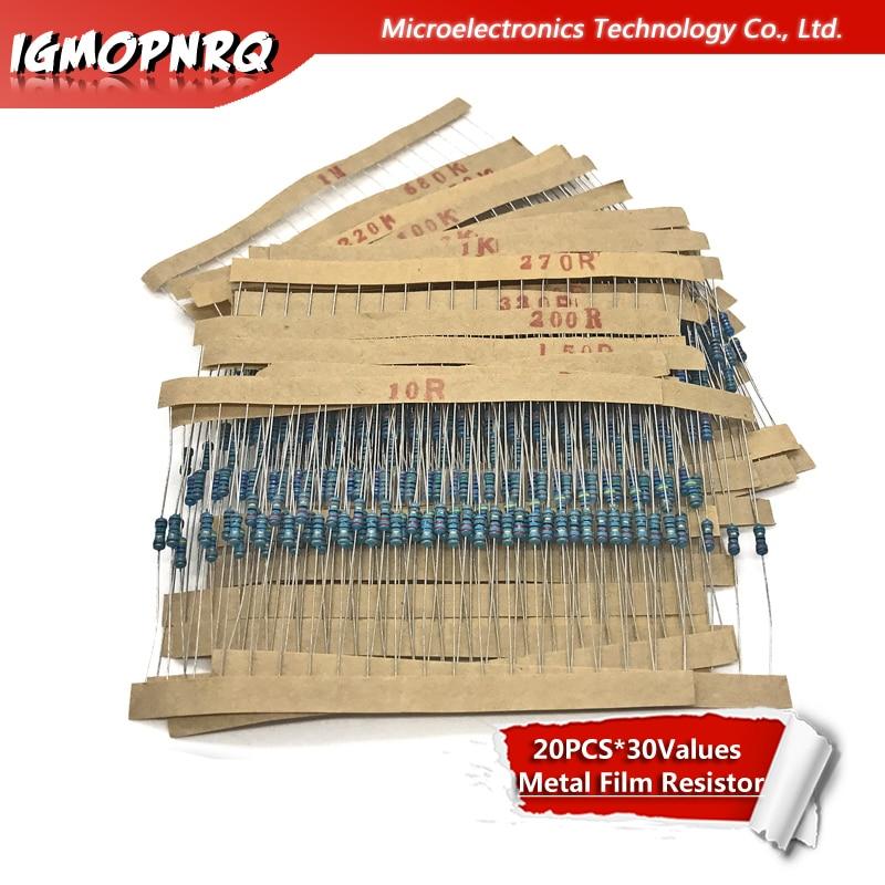 600Pcs 1/4W 1% 20PCS*30Values Metal Film Resistor Assortment Kit Set Pack Electronic Diy Kit Resistor